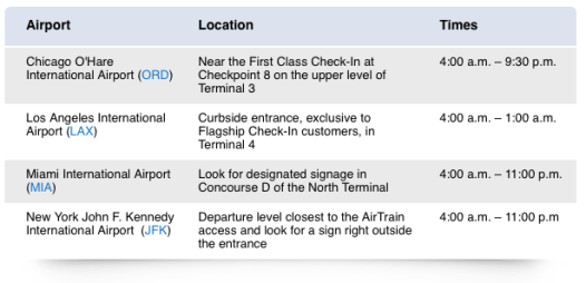 American Airlines Flagship Check-in Locations
